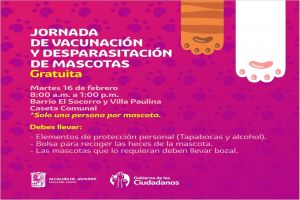 Estos días de febrero habrá jornadas de vacunación y desparasitación de mascotas